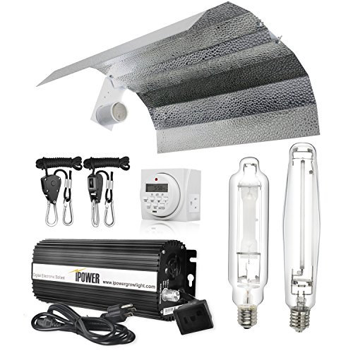 iPower 1000 Watt HPS MH Digital Dimmable Grow Light System Kits Wing Reflector Set with Timer