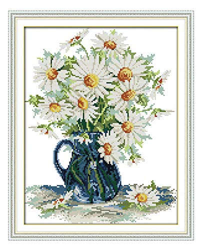 - eGoodn Stamped Cross Stitch Kits with Printed Pattern Flower - Daisy Vase, 15