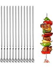 """BBQ Barbecue Skewer 14"""" Long Stainless Steel Shish Kebob Sticks Wide Reusable Grilling Skewers Set for Meat Shrimp Chicken Vegetable"""