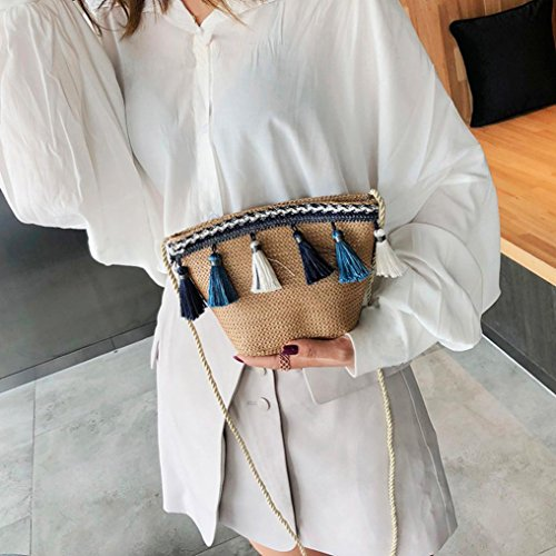 Corssbody Tassel Crochet Purse Summer Bags Beach Brown Messenger with Shybuy Bag Straw Shoulder Women's qxY7BwECB
