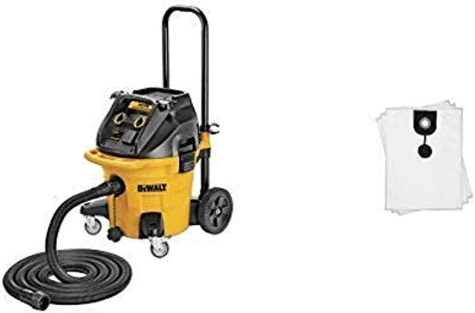 DEWALT DWV012 10-Gallon Dust Extractor with Automatic Filter with DEWALT DWV9402 Fleece Bag for DWV012 Dust Extractor, 5-Pack