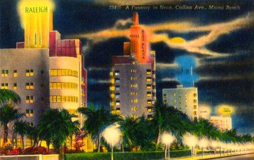 A Fantasy in Neon - Collins Ave - Miami Beach FL - Vintage Postcard - Miami Ave Collin Beach