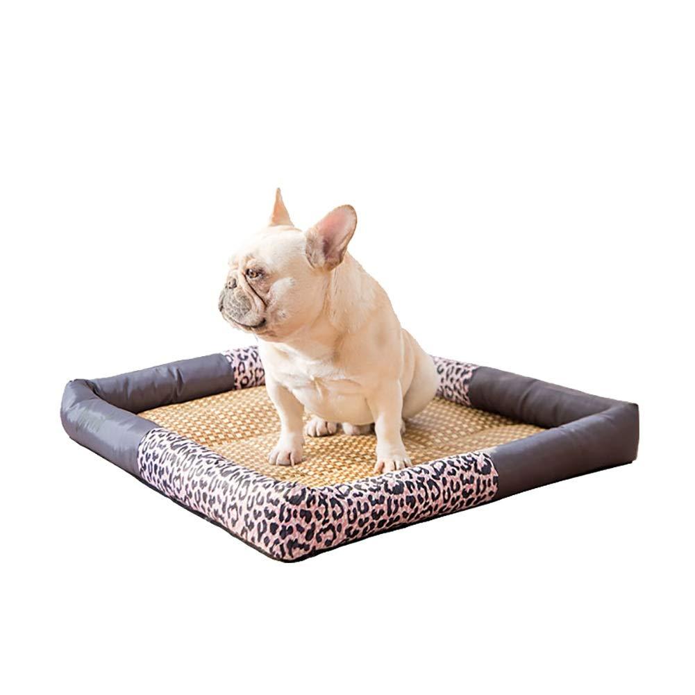 LLAGC8 S(66×46×8cm 10kg) LLAGC8 S(66×46×8cm 10kg) Pet Bed for Cats and Puppies Washable, Leopard Print Design, Rectangle Shape Dimple Oxford cloth Nesting (color   LLAGC8, Size   S(66×46×8cm 10kg))