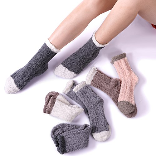 CHOWISH 5/6 Pairs Women Plush Slipper Socks Winter Warm Fuzzy Fluffy Super Soft Cozy Home Socks (6 Pairs solid color)