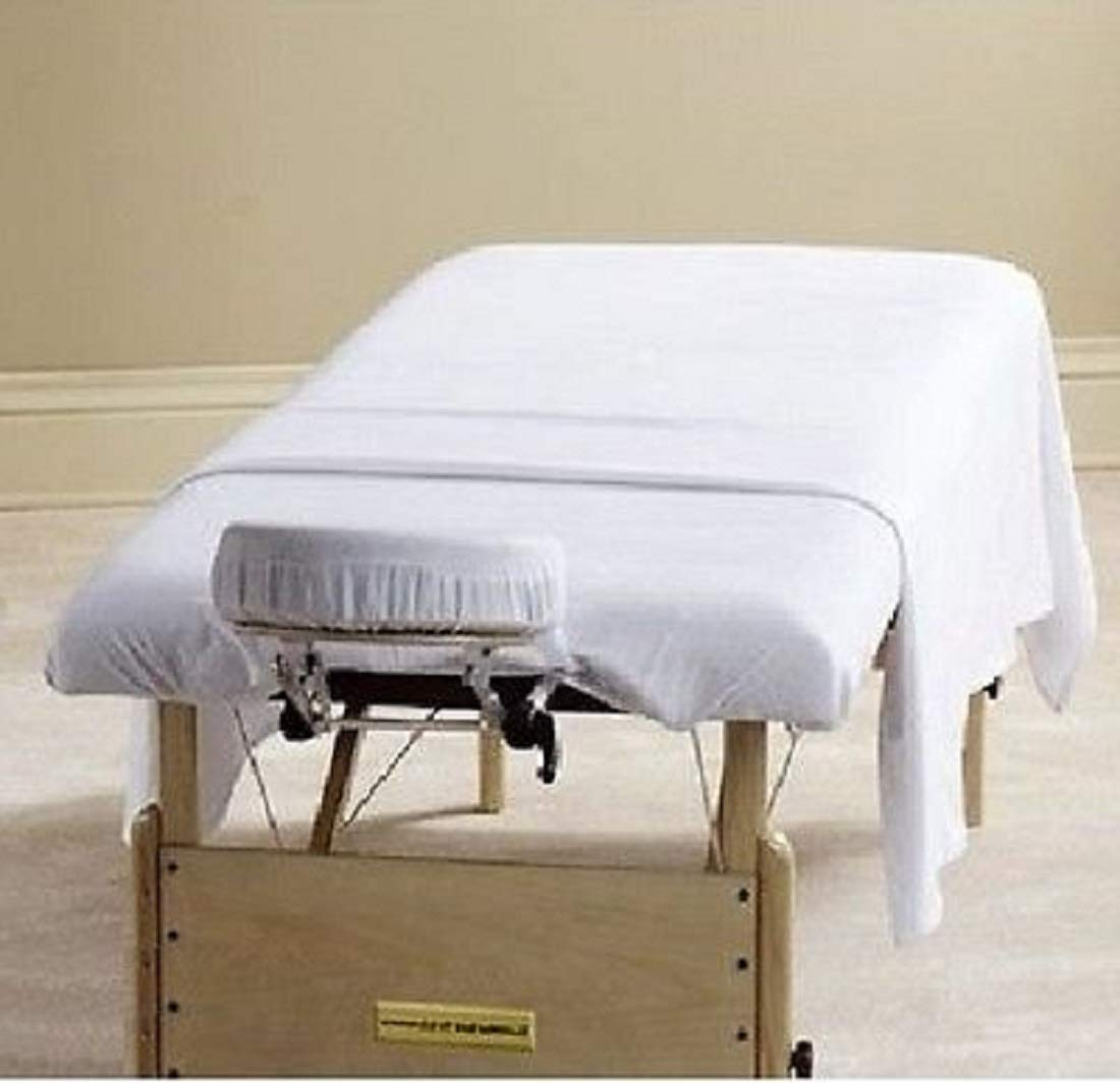 12 NEW WHITE MASSAGE TABLE FLAT DRAW SHEETS MUSLIN, HOTEL AND SALON INDUSTRY, LARGER SIZE 54X72 FOR ADDED COVERAGE AND COMFORT