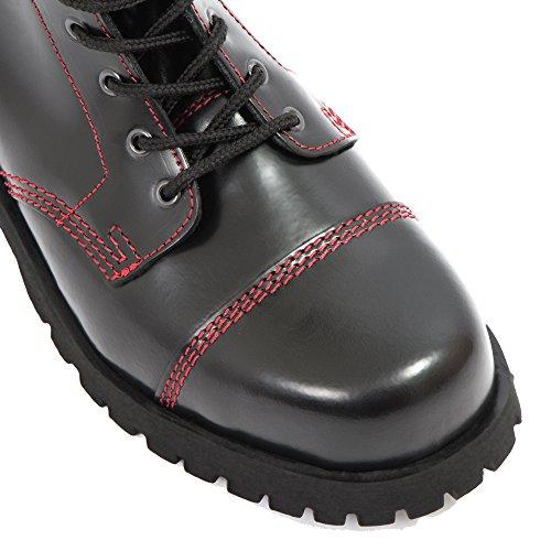 Naht schwarz mit Stiefel roter Braces Rot 14 Boots Loch Rangers Black Schwarz fqn4ZawY