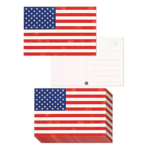 Pack of 40 American Flag Postcards - Patriotic United States Theme, 4 x 6 Inches