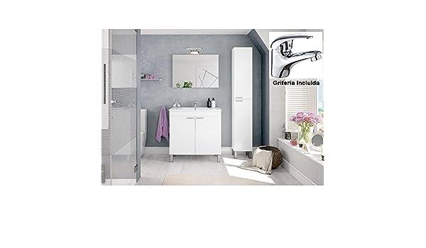Hogar Decora Mueble de BAño + Espejo + Lavabo de Metacrilato Blanco (NO Clásica CERÁMICA) + Grifo: Amazon.es: Hogar