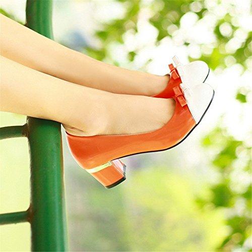 Minivog Womens Pompa Tacco Medio Scarpe Arancione