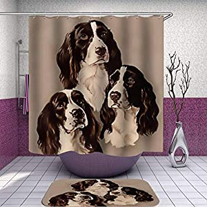SARA NELL Shower Curtain and Rug Set for Bathroom English Springer Spaniel Portrait Pastel Shower Curtain Fabric Bathroom Curtain Set with 12 Hooks - 72 x 72 Inch 2