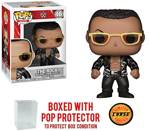 Funko Pop! WWE The Rock Old School - CHASE Limited Edition Vinyl Figure (Bundled with Pop BOX PROTECTOR CASE) by Pop Protector