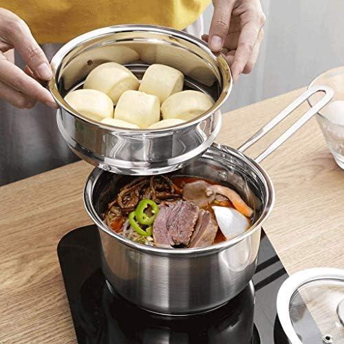 CJTMY Vapeur - Stack en Acier Inoxydable Vapeur Pot Set Faitout Multi-Couche Chaudière Batterie De Cuisine Pot 2 Niveau (16cm, 18cm)