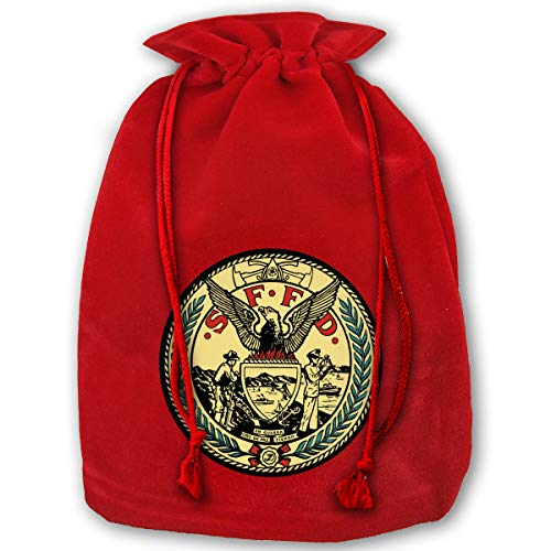 NYSOUVENIRS Bag San Francisco Fire Department Seal Merry Christmas Drawstring Beam Port Canvas Storage Bag Gift Bag Hometom Christmas