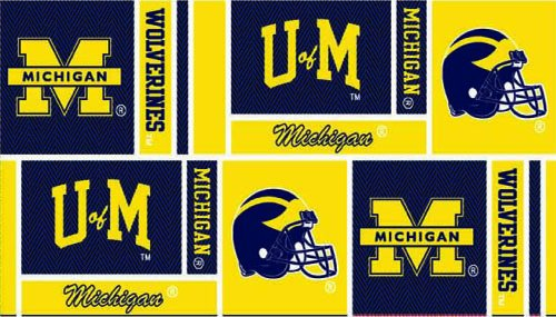 Collegiate Cotton Broadcloth University of Michigan Squares Yellow/Blue Fabric By The Yard (Blue Yellow Fabric)