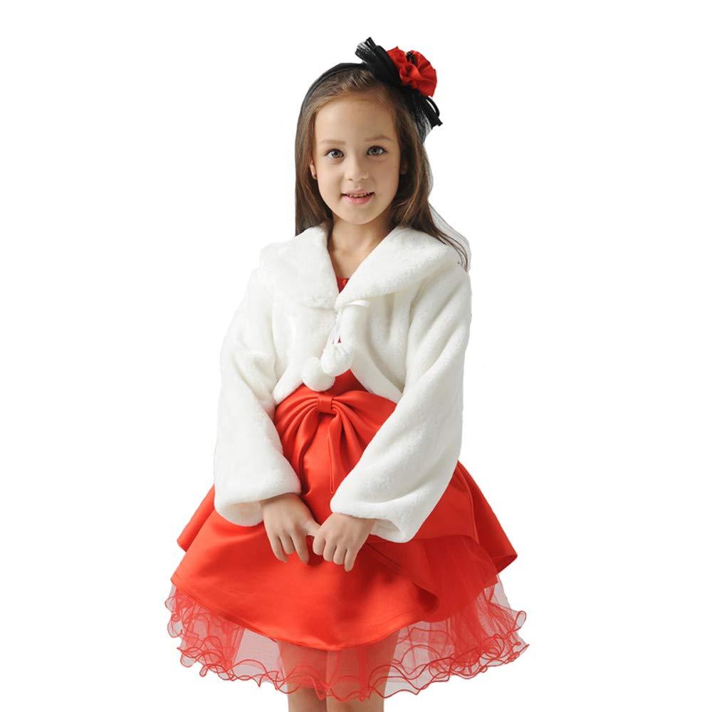 Girls Winter Warm Cape Flower Girl Faux Fur Wraps Scarves Wraps Girls Princess Faux Fur Coats