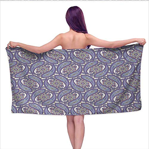 "duommhome Paisley Soft Luxury Bath Sheet Set Tribal Floral Ornamental Patterned Design with Raindrop Like Shapes Artwork Bath Towel 3D Digital Printing Set W 20"" x L 39"" Blue and Purple"