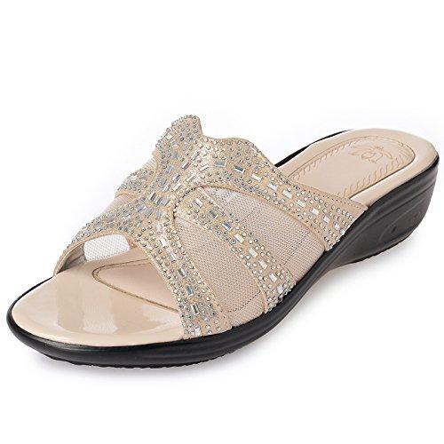 KPHY Sommer Flache Schuhe Cool Hausschuhe Flachen Boden Gaze Meine Damen Sandalen Mode Ziehen Damenschuhe.