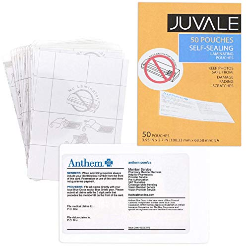 (Juvale 50-Pack Self-Sealing Laminating Pouches, Business Card Size, 4 x 2.5 inches)
