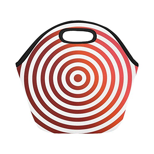 Insulated Neoprene Lunch Bag Concentric Red Rings Decoration Arch Large Size Reusable Thermal Thick Lunch Tote Bags For -lunch Boxes For Outdoors,work, Office, School