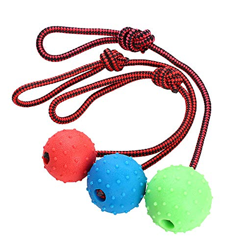 (Luck Dawn Dog Ball with Rope, Solid Rubber Dog Training Ball for Tug of War Puppy Teeth Cleaning Spike Ball with Random Color 1 Pcs)