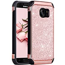 Galaxy S7 Case,S7 Case,S7 Phone Case, BENTOBEN Samsung S7 2 in 1 Luxury Glitter Bling Hybrid Slim Hard PC Laminated with Sparkly Shiny Faux Leather Chrome Shockproof Protective Phone Case for Samsung Galaxy S7 (G930), Rose Gold