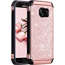 Galaxy S7 Case, BENTOBEN 2 in 1 Luxury Glitter Bling Hybrid Slim Hard Cover Laminated with Sparkly Shiny Faux Leather Chrome Shockproof Protective Case for Samsung Galaxy S7 (G930), Rose Gold