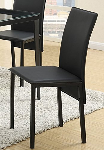 4Pcs Black leather like upholstered flat paneled dining chairs by Advanced Furniture