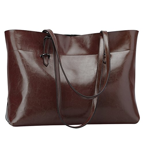 S-ZONE Women's Vintage Genuine Leather Tote Shoulder Bag Handbag Upgraded Version (Coffee)