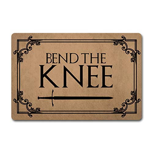 ZQH WelcomeDoor Mat Bend The Knee Doormat Game of Thrones Door Rugs Welcome Funny Mats (23.6 X 15.7 in) Non-Woven Fabric Top with a Anti-Slip Rubber Back Door Rugs Target Doormat