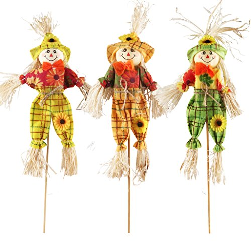 IFOYO Small Fall Harvest Scarecrow Decor, 3 Pack Happy Halloween Decorations 15.75 Inch Scarecrow Halloween Decoration for Garden, Home, Yard, Porch, Thanksgiving -