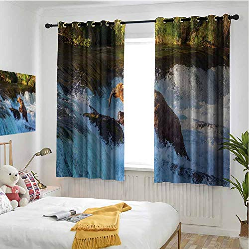 Waterfall 100% blackout lining curtain Image of Large Bear by a Rock in Alaska Waterfall Wildlife in Earth Art Print Full shading treatment kitchen insulation curtain W63 x L72 Inch Multicolor