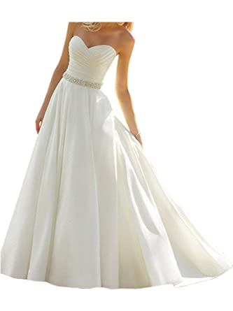 Yaxiu Women S Sweetheart Off Shoulder White Ivory Bridal A Line Long