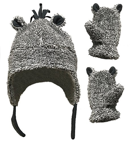 - N'Ice Caps Little Boys and Baby Sherpa Lined Fleece Hat Mitten Set with Ears (2-3 Years, Grey Mix)