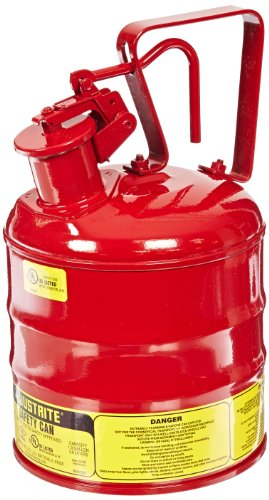 Justrite 10301 Type I Steel Flammables Safety Can, 4L Capacity, Red Steel Paint Cans