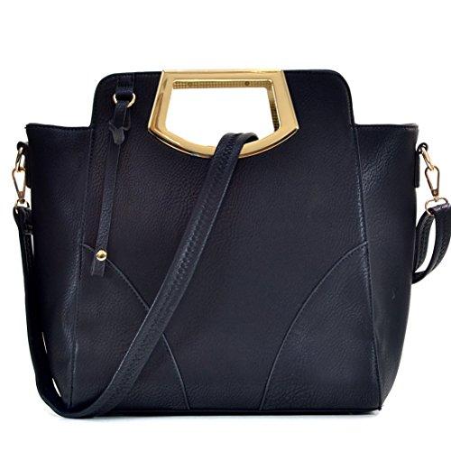 Dasein Women Designer Handbag Cut Out Triangle Top Handle Bag Large Tote Bag Fashion Work Purse (8-7464 Black Single Bag without Wallet)