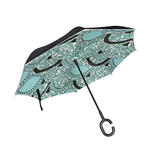All agree Inverted Reverse Umbrella Mermaid Fish Scale Windproof for Car Rain Outdoor
