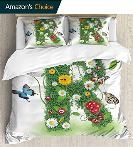 (Letter R Home Duvet Cover Set,Uppercase R with Flora and Fauna Wildflowers Daisies Butterflies and Grass Print Quilt Cover Set White Queen Pattern Bedding Collection 104