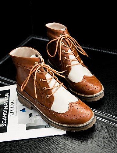 Y Semicuero Brown Redonda Botas Cn39 Oficina Mujer Zapatos Marrón Eu39 Bajo negro Xzz Cerrada us8 Casual De Uk6 Trabajo Tacón Red us8 Vestido Punta wf41wv86
