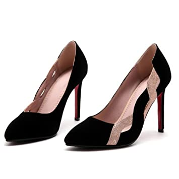 the best attitude f996f 380e4 GAOLIXIA Frauen Wildleder spitz Pumps Heels Fashion Comfort ...