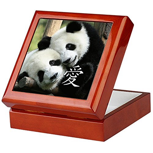 CafePress - Chinese Love Little Pandas - Keepsake Box, Finished Hardwood Jewelry Box, Velvet Lined Memento Box