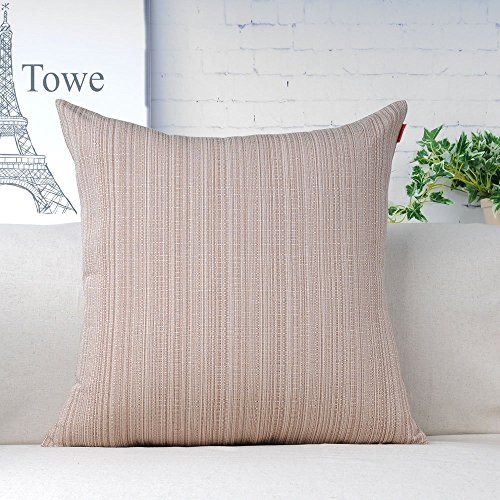 Shinnwa Solid Texture Stripes Square Home Decorative Throw Pillow Case Cushion Covers (Champagne Living Room Set)