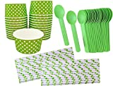 Product review for Outside the Box Papers Ice Cream Sundae Kit with 6 Ounce Polka Dot Paper Cups - 24 Pack, Eco Friendly Plastic Spoons - 24 Pack and Polka Dot Paper Straws- 25 Pack Lime Green, White