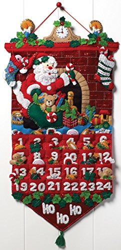 Bucilla Felt Applique Advent Calendar Kit, 13 by 25-inch, 86312 Must Be Santa