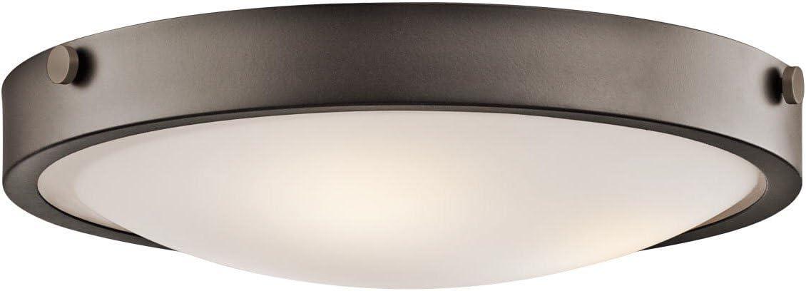 Kichler 42275OZ, Lytham Glass Flush Mount Ceiling Lighting, 3 Light, 180 Watts, Olde Bronze