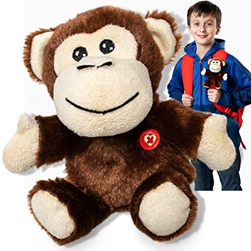 (GOPALS Colie The Monkey Stuffed Animal Plush Toy - Clip On Backpack - Gifts for Girls and Boys Kids, 7 inches)
