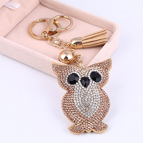 1 Pc Mini Pocket Crystal Owl Keychain Keyring Keyfob Rhinestone Bird Pendant Key Chain Ring Fob Tag Holder Finder Necklace Distinguished Popular Cute Wristlet Utility Keychains Tool Girl Gift, ()