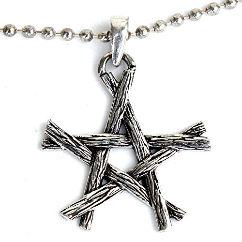 New Pewter Celtic Knot - Witchcraft Magic Wicca Pagan Wiccan Pendant Twigs Pentagram Star Pewter w Silver Ball Chain