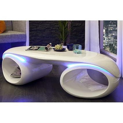 Table Basse Design En Fibre De Verre Coloris Blanc Laque Avec Led