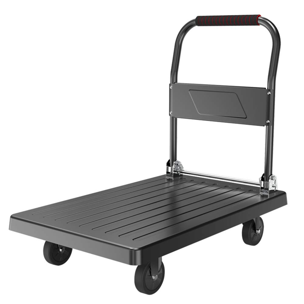 Flatbed truck Small cart Pull Goods Trolley cart Home Folding Small cart Four Wheel Steel Material Portable Rubber casters 73x47xH86cm