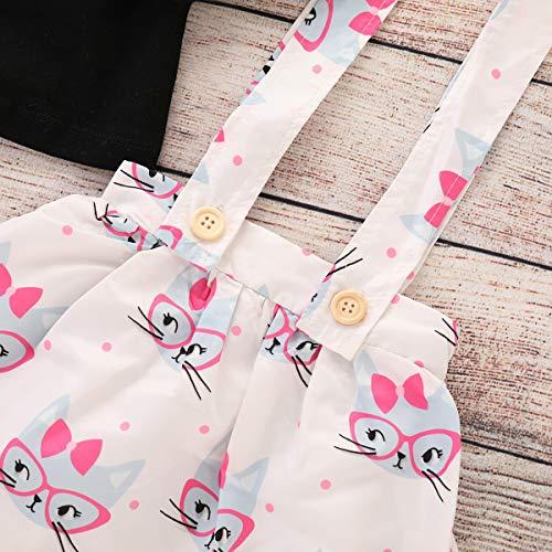 6ec7f05b52 Toddler Baby Girls Cut Cat Ruffle Long Sleeve Shirt Tops Suspender Skirt  Overalls Outfits (Black